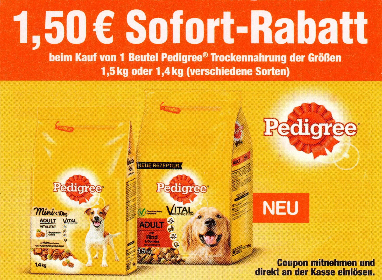 1,50€ Sofort-Rabatt-Coupon für Pedigree Trockennahrung 1,4/1,5kg bis 31.07.2017