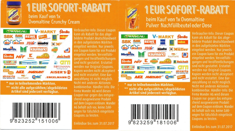 1,00€ Sofort-Rabatt-Coupon auf Ovomaltine Pulver (Nachfüllbeutel o. Dose) // Crunchy Cream bis 31.07.2017 [bundesweit]