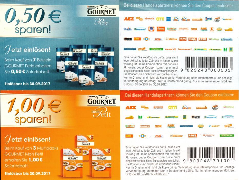 0,50€ Sofort-Rabatt-Coupon für 7x Purina Gourmet Perle und 1,00€ für 3x Purina Gourmet Mon Petit Multipack bis 30.09.2017 [bundesweit]