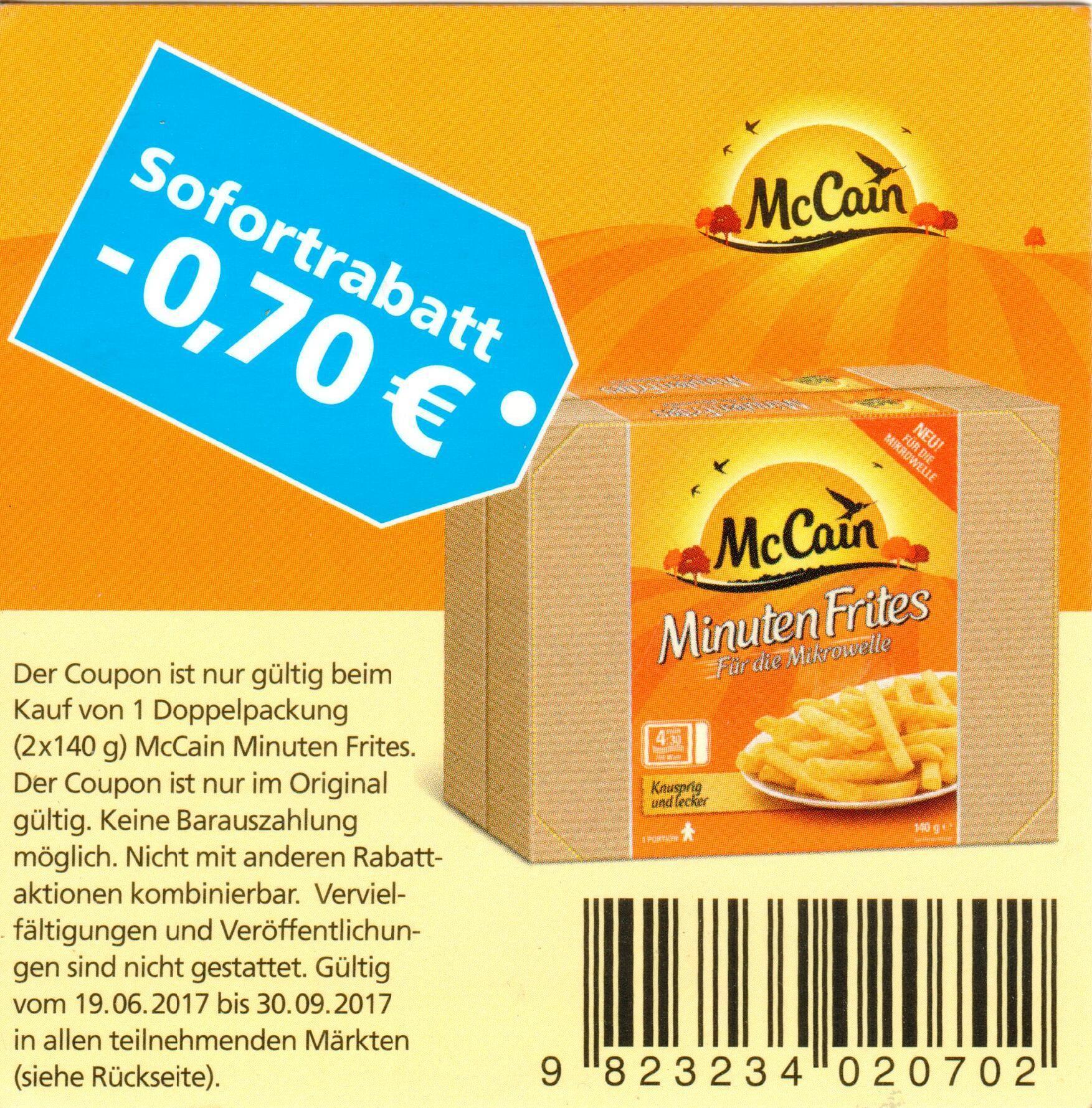 0,70€ Sofort-Rabatt-Coupon für eine Doppelpackung McCain Minuten Frites (2x140g) bis 30.09.2017 [bundesweit]