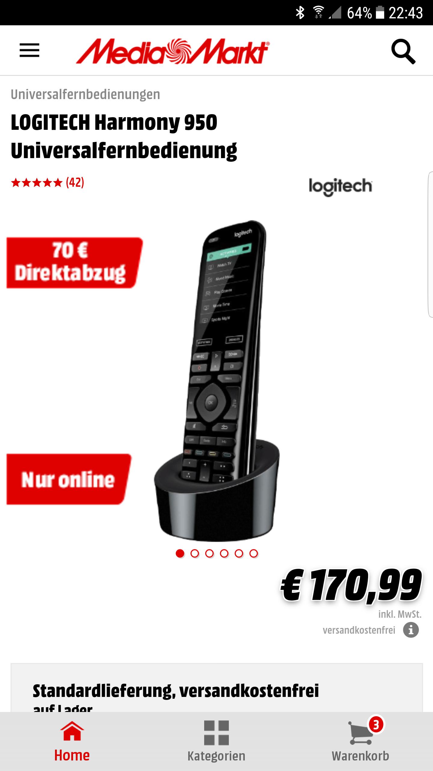 Logitech Harmony 950 für 100,99€ + versandkostenfrei