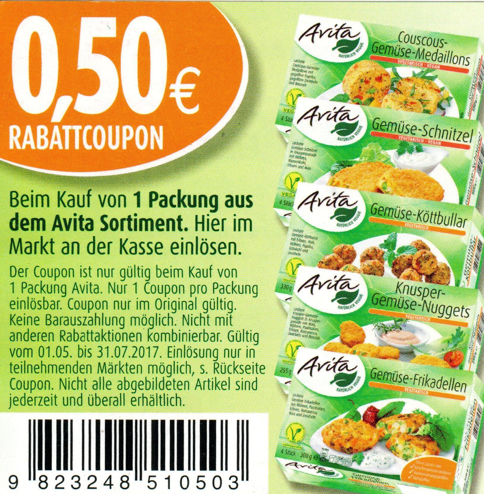 0,50€ Sofort-Rabatt-Coupon für Avita Vegetarische Produkte bis 31.07.2017 [bundesweit]