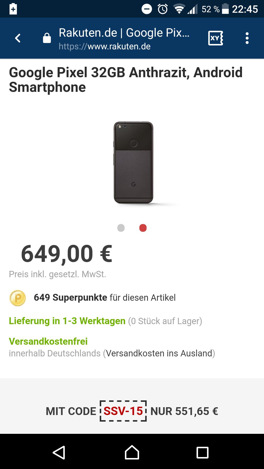 [Rakuten] Google Pixel 32GB Anthrazit