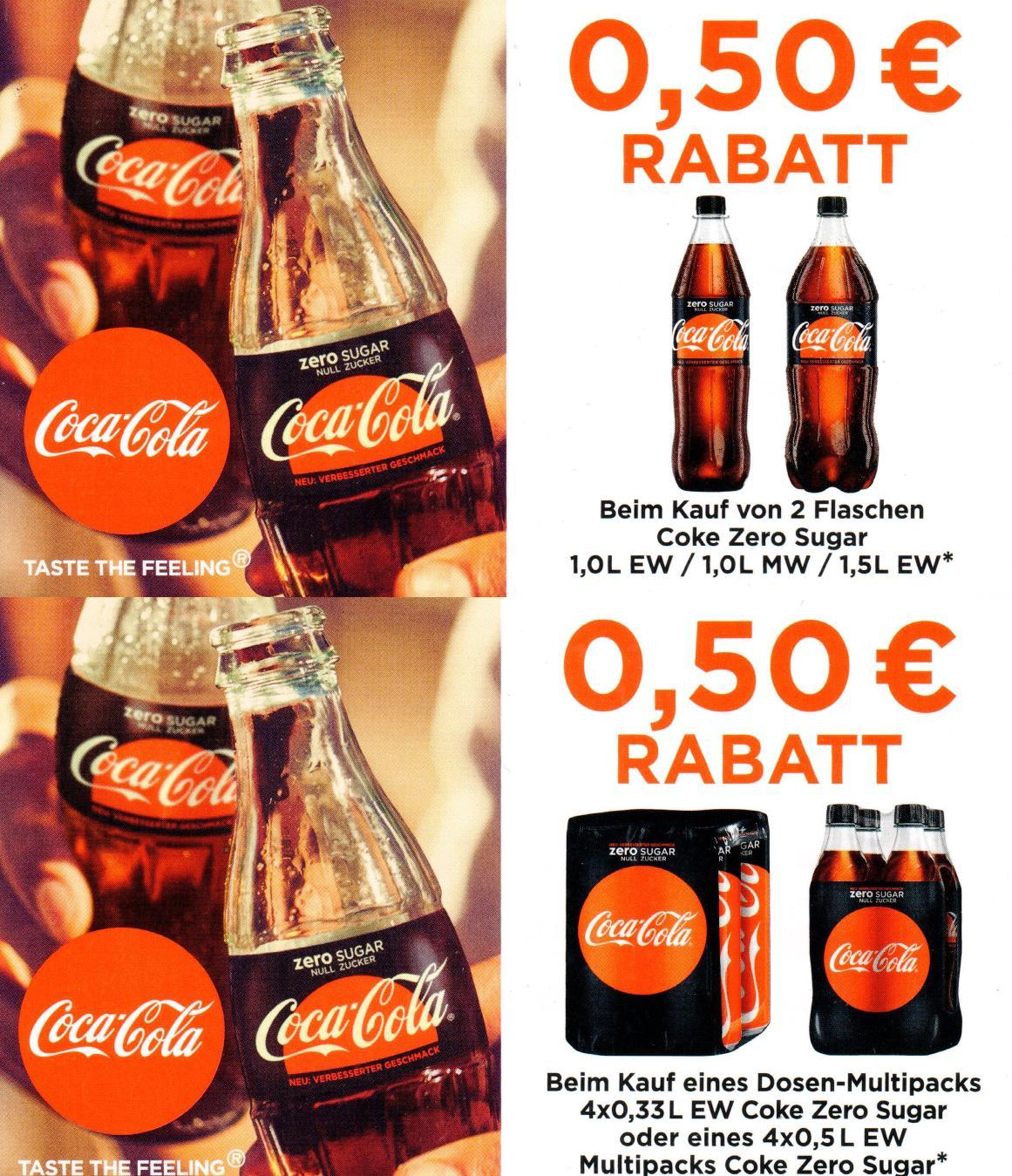 0,50€ Sofort-Rabatt-Coupon für Coke Zero 2x1,0l/1,5l oder 4x0,33l/0,5l bis 30.09.2017 [bundesweit]