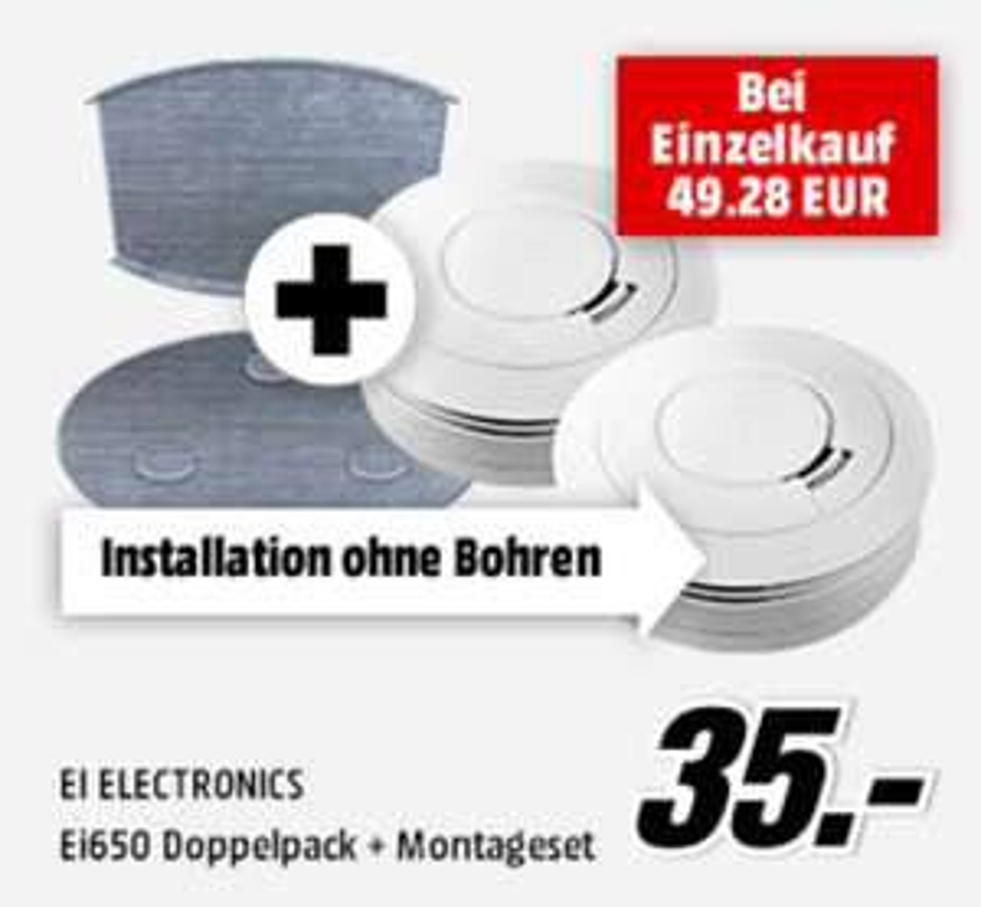 [Mediamarkt] 2x Ei650 Rauchmelder inkl. Magnetbefestigung für 35,00€