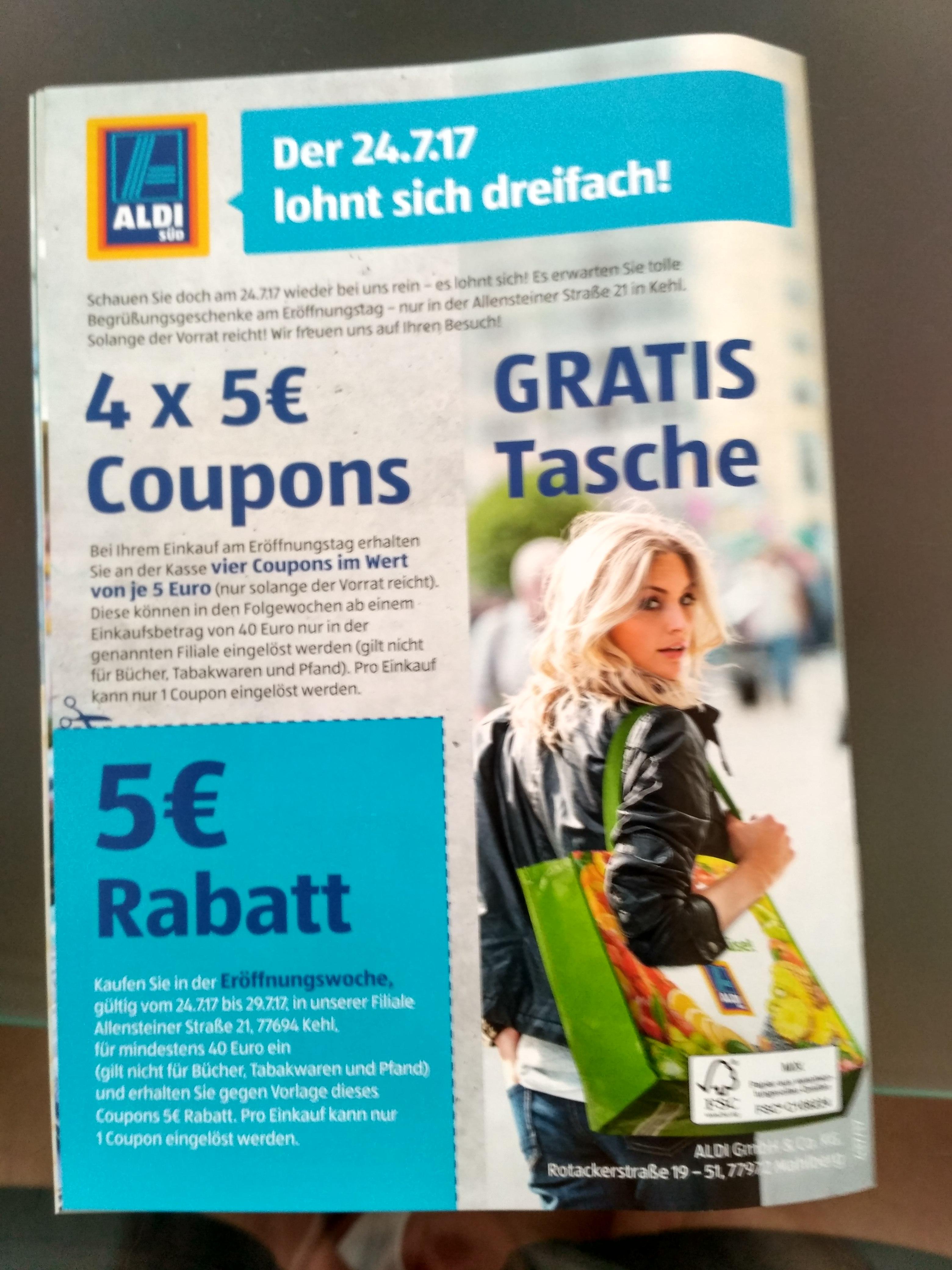 (Lokal) Aldi Süd in  77694 Kehl, Allensteinerstr.21, wegen Wiedereröffnungng am 24.7. 5 x 5€ Rabatt plus Tasche