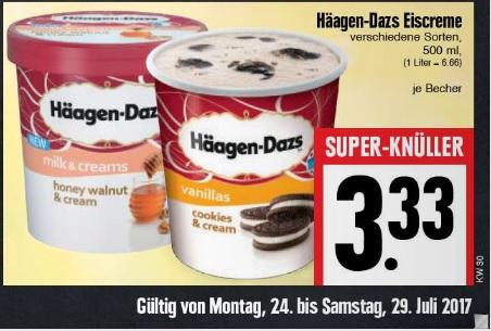 Häagen-Dazs Eiscreme vers. Sorten je 500ml für 3,33€ statt ca 5€ @ Edeka Hessenring