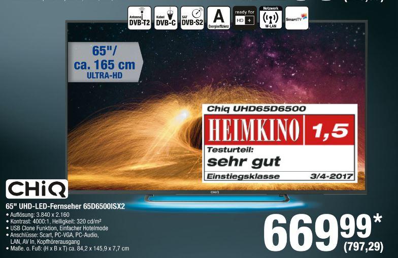[Metro] Changhong UHD65D6500ISX2 - Aktuell billigster 65 Zoll UHD SmartTV überhaupt, Heimkino Note 1,5 (sehr gut), nächster Idealo 999 €