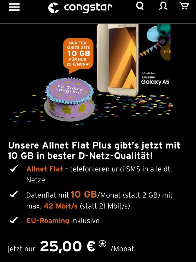 Congstar Jubiläumstarif Allnetflat (ohne LTE)  inkl. 10GB f. 25€/M Telekom-Netz