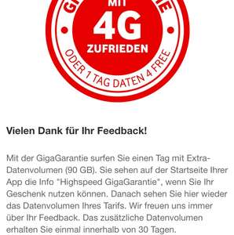 Vodafone 90Gb für 24h Stunden Geschenkt