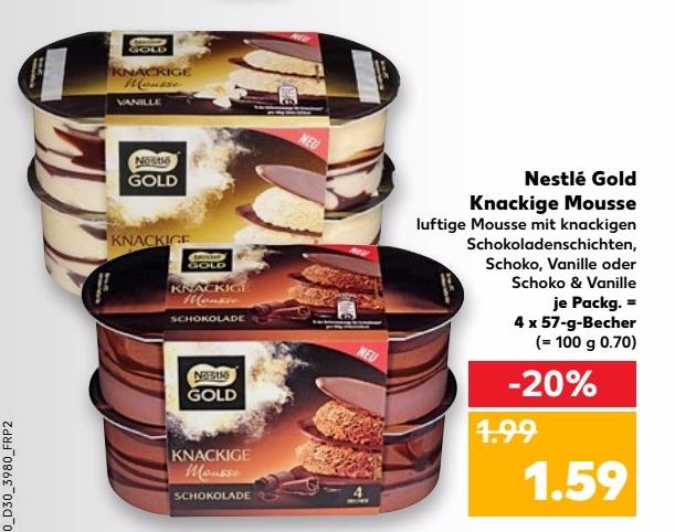 Nestlé Gold Knusprige Mousse 4x57g (versch. Sorten) für nur 1,09€ bei Kaufland vom 27.07.-02.08.17 (Angebot+Coupon)