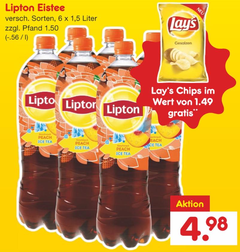 6x1,5l Lipton Ice Tea versch. Sorten (=0,83€/Flasche) + 1 Packung Lay's Chips gesalzen Gratis dazu [Netto MD]