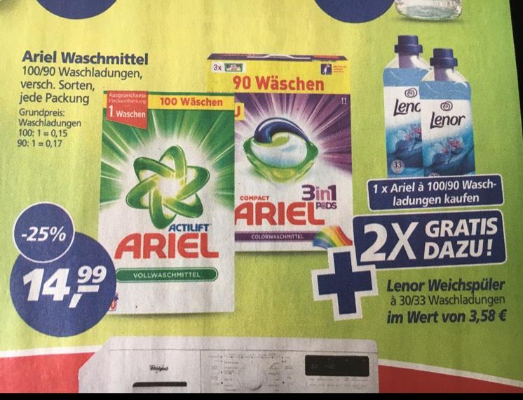 [REAL] Ariel Waschmittel Pulver und Pods plus Gratis 2x Lenor Weichspüler