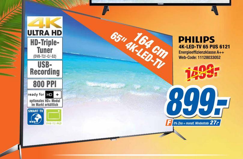 Philips 4K-LED-TV 65 PUS 6121 (Triple Tuner, 4K, USB Recording, Smart TV, 800 PPI, A++)