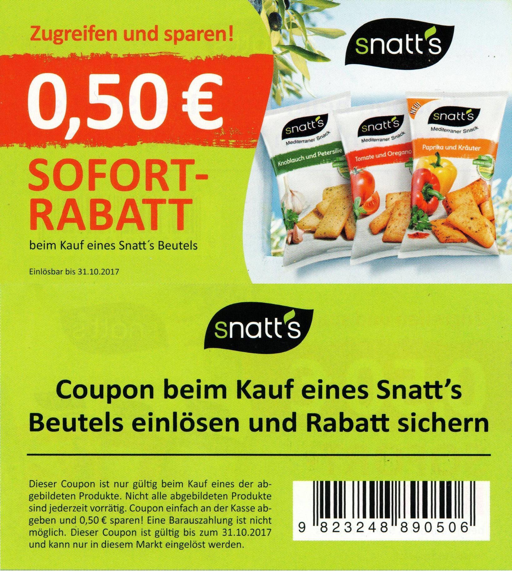 0,50€ Sofort-Rabatt-Coupon für Kauf eines Snatt's Beutels