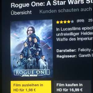 Rogue one: a Star wars story zum leihen HD 1.98€