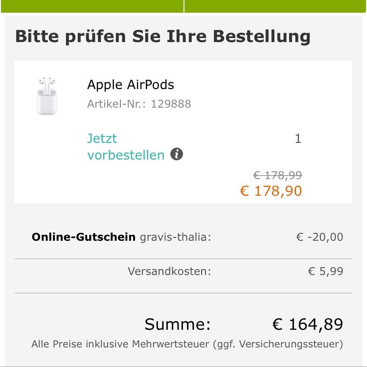 Apple AirPods für 164,89€