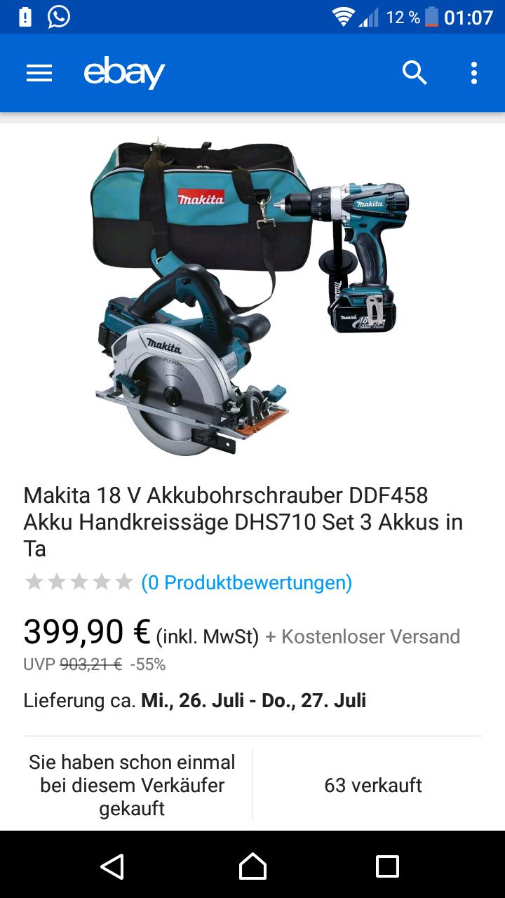 Top Preis!! Fast ausverkauft! Makita Akkubohrer DDF458 + Makita Handkreissäge DHS710 + 3 Akkus  + Tasche + Ladegerät