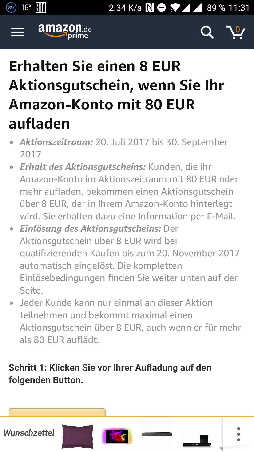 Amazon, 80€ Gutschein kaufen 8€ geschenkt, App aktion