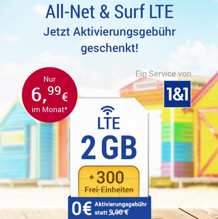 All-Net & Surf LTE 2GB für 6,99 ohne Aktivierungsgebühr