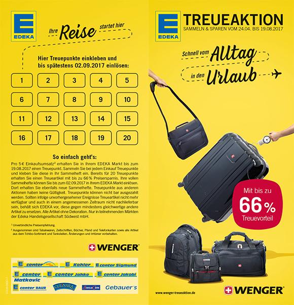 Edeka/Marktkauf/SBK Wenger Koffer, Rucksäcke, Taschen Sammelpunkte 75cm Koffer 69,99€ Idealo 178,46€