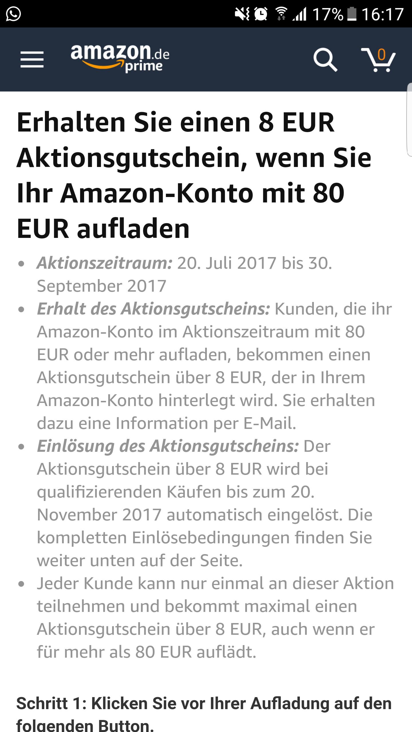 Amazon Gutschein 80€ Aufladen und 8€ Geschenkt bekommen