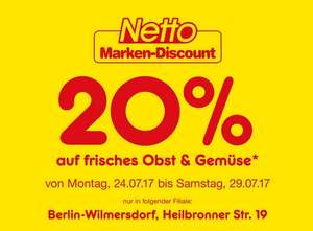 [Lokal Berlin (Wilmersdorf) Heilbronnerstr. 19] NETTO 20% Rabatt auf frisches Obst & Gemüse