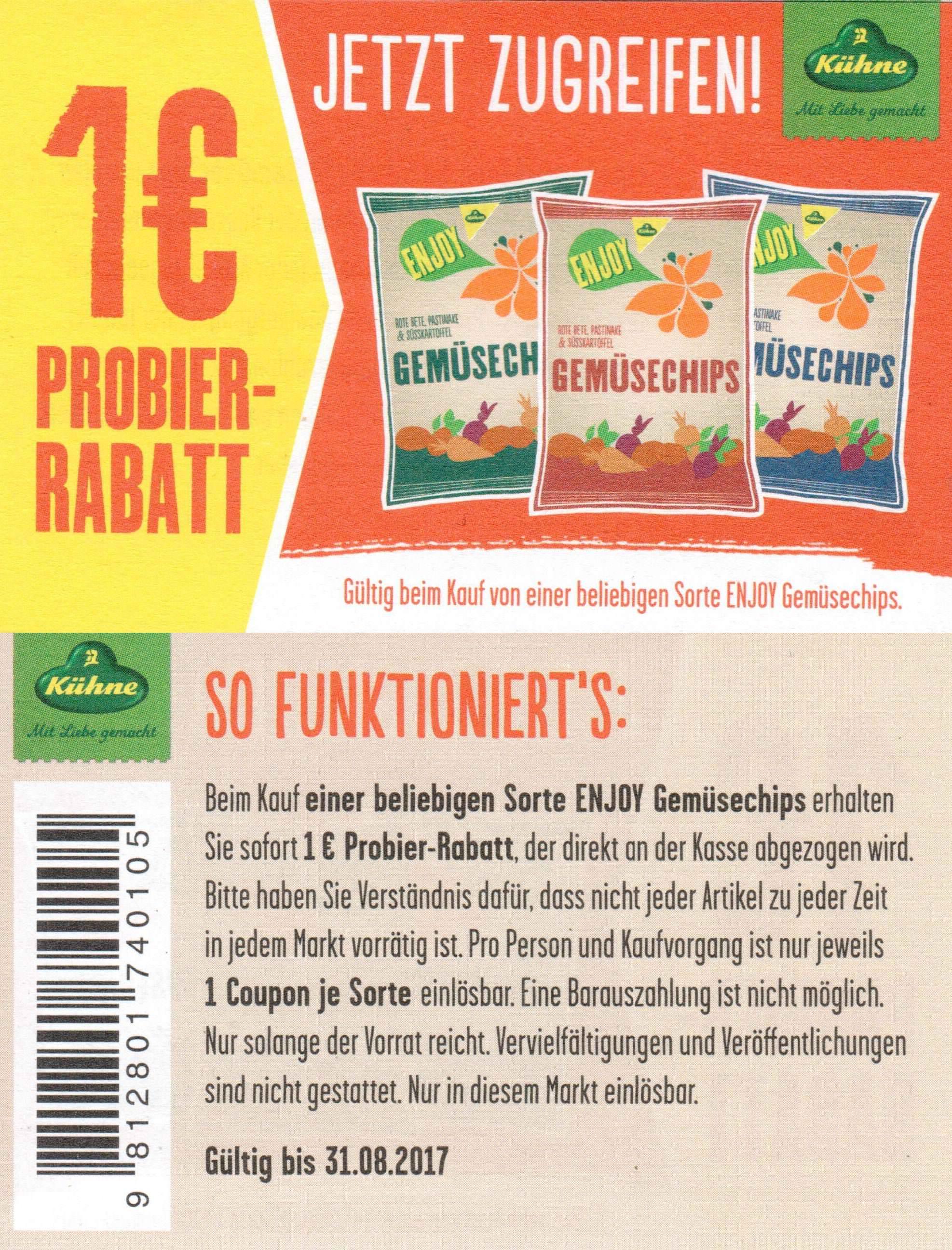 1,00€ Sofort-Rabatt-Coupon für eine Packung Kühne Gemüsechips bis 31.08.2017