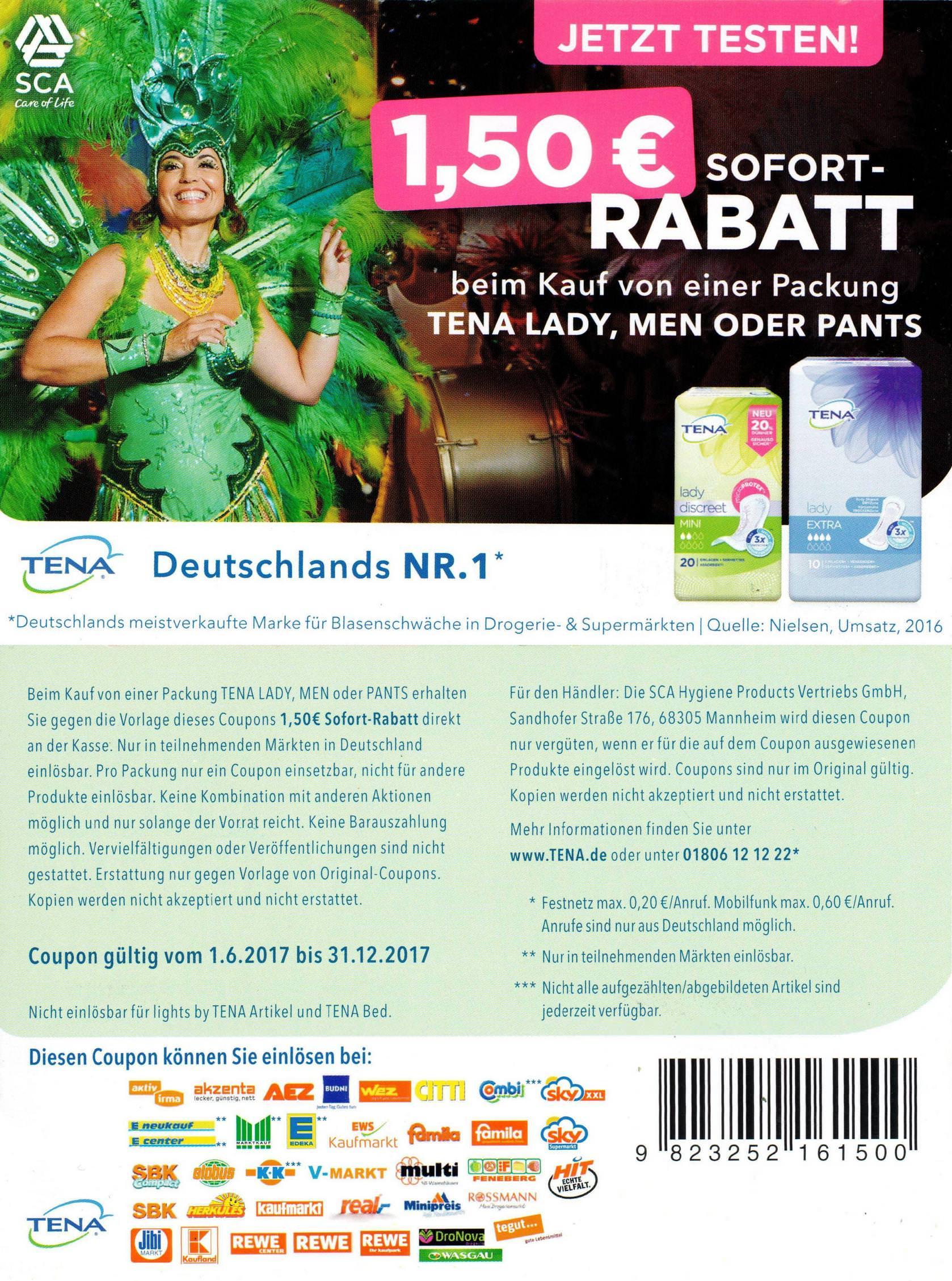 1,50€ Sofort-Rabatt-Coupon für Tena Lady/Men/Pants bis 31.12.2017 [bundesweit]