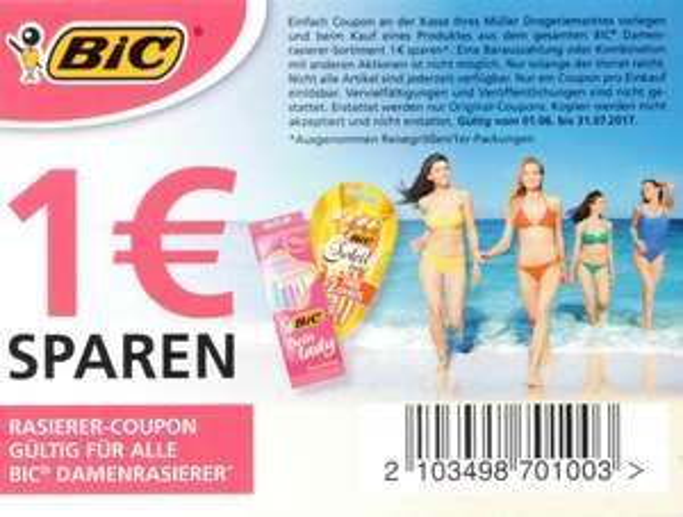 1,00€ Sofort-Rabatt-Coupon für BIC Einwegrasierer bis 31.07.2017 bei Müller
