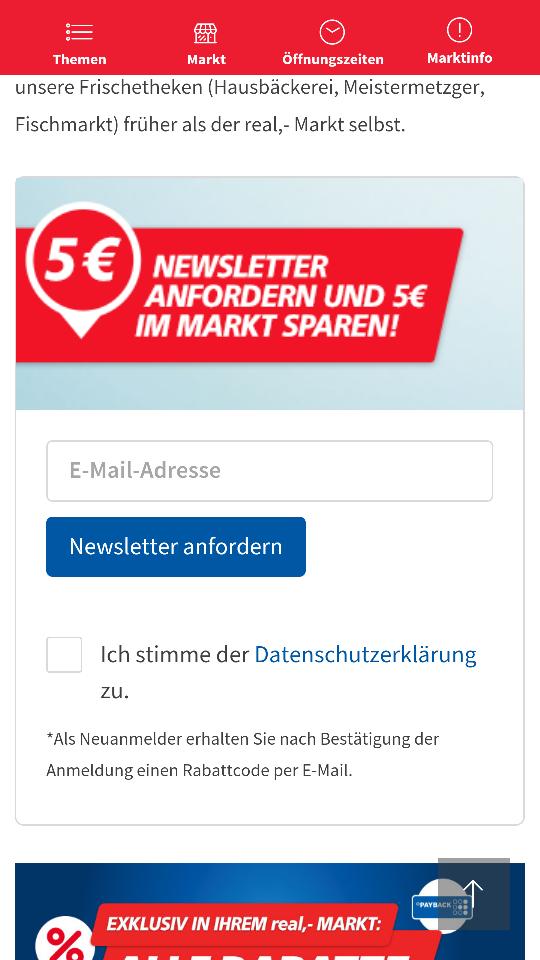 Real- 5€ Newsletter Gutschein im Markt ab 30€ Einkauf [verlängert]