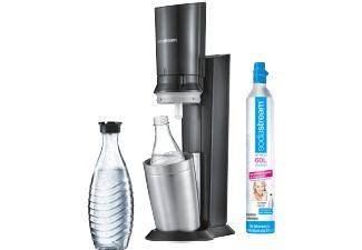 SODASTREAM Crystal 2.0, Wassersprudler, Titan inc. 2 Glaskaraffen und Co² Zylinder für 88,-€ versandkostenfrei [Saturn]
