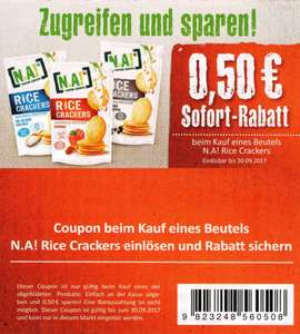 0,50€ Sofort-Rabatt-Coupon für 1 Packung N.A.! Rice Crackers bis 30.09.2017