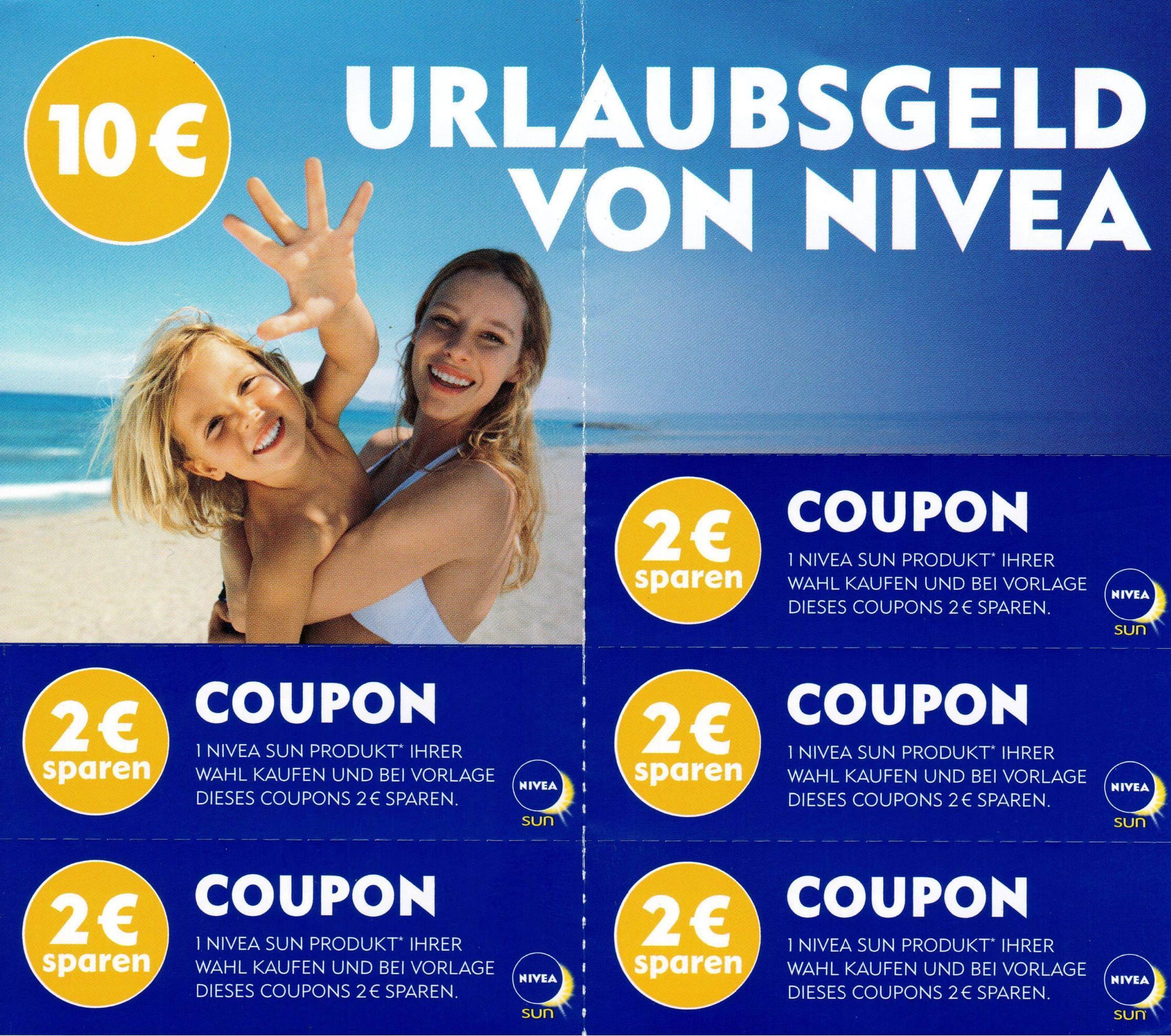 2,00€ Nivea Urlaubsgeld für ein Nivea Sun Produkt (weitere EAN) bis 12.08.2017 [bundesweit]