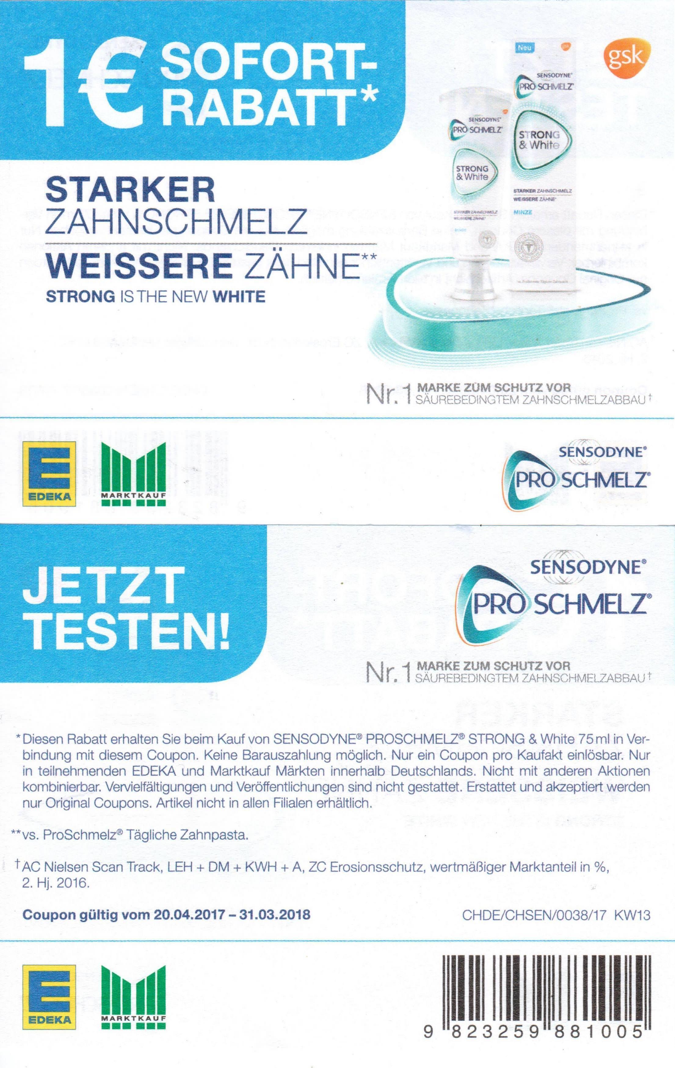 1,00€ Sofort-Rabatt-Coupon für Sensodyne ProSchmelz Strong & White bis 31.03.2018 bei Marktkauf & Edeka