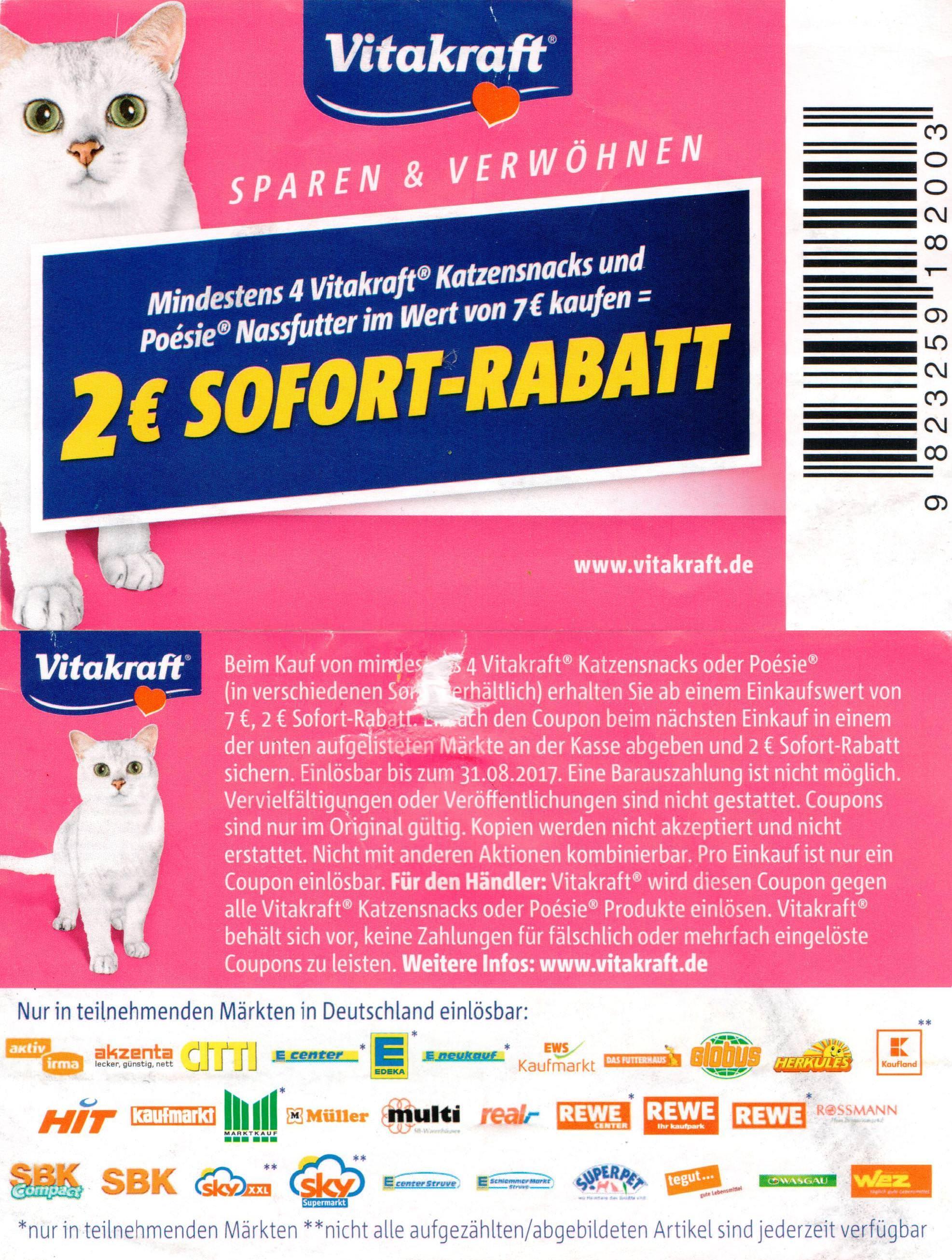 2,00€ Sofort-Rabatt-Coupon für 4 Vitakraft Katzensnacks oder Poésie ab 7€ bis 31.08.2017