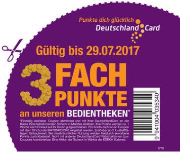 Lokal: 3fach Deutschlandcard-Punkte an der Bedientheke der Scheck-in Märkte von EDEKA Südwest