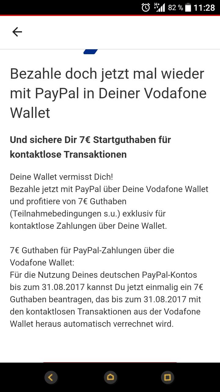 Vodafone Wallet - Kostenlos 7€ Guthaben per Paypal