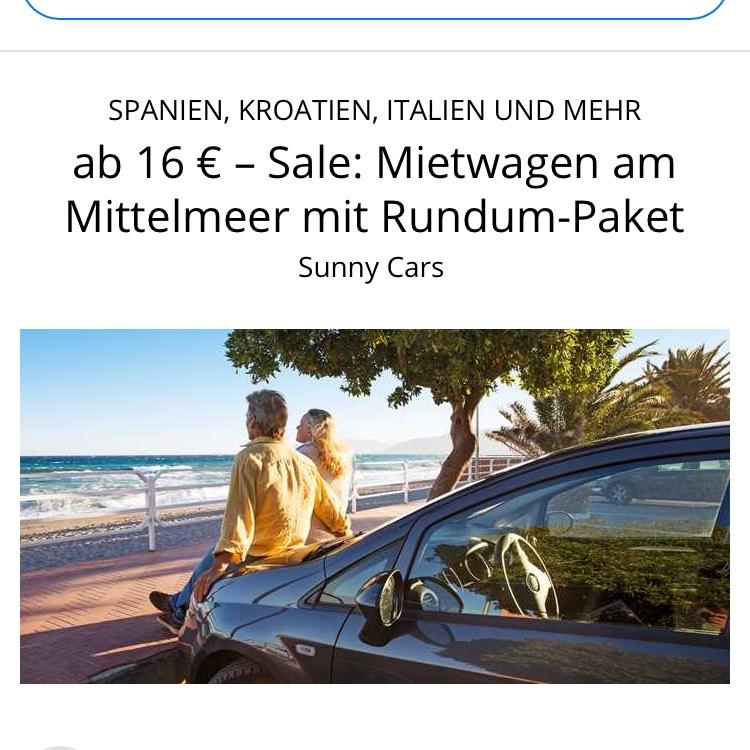 Sunny Cars Rundum Paket ab 16€ Mittelmeer +10€ Gutschein