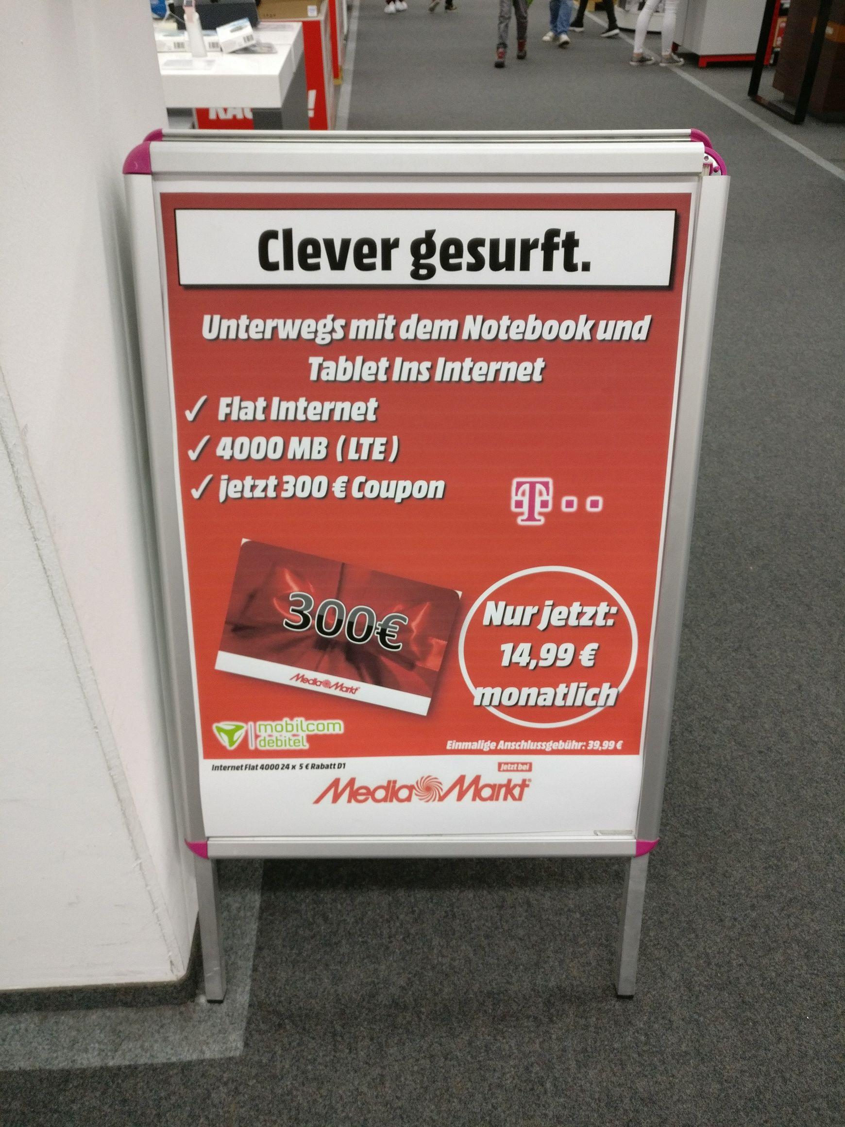 [Lokal Kempten] Telekom D1 4000MB LTE Daten Flatrate, 15€ mtl. / 300€ MM-Gutschein
