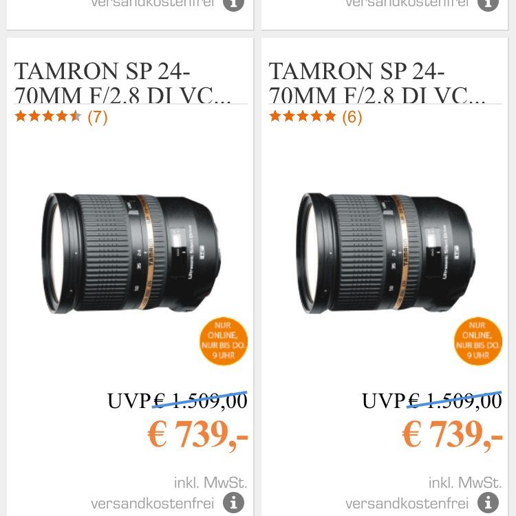 TAMRON dSP 24-70MM F/2.8 DI VC USD 24 MM-70 MM OBJEKTIV