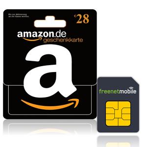@eBay: 28 € Amazon Gutschein für 3,90 € beim Kauf von 2 FreenetMobile SIMs