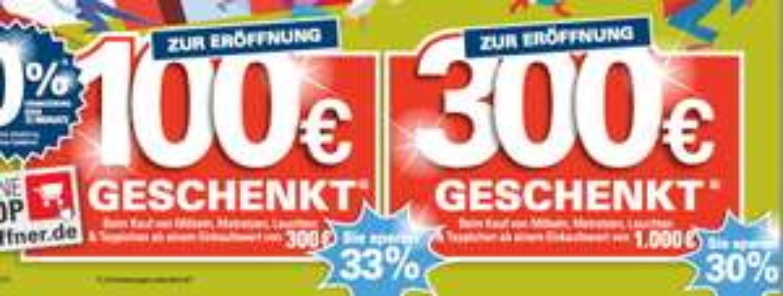 Möbel Höffner Magdeburg: 100€ Rabatt bei 300€Einkaufswert // 300€ Rabatt bei 1000€ Einkaufswert beim Kauf von Möbeln, Matratzen, Leuchten & Teppichen // 450g Nutella für 0,99€