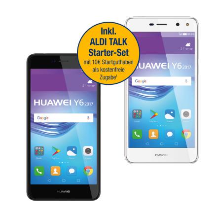 Aldi Nord Huawei Y6 (2017) in grau oder weiß für 149,00 + Aldi Talk 10 € Startguthaben