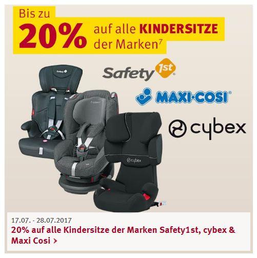 Bis zu 20% Rabatt auf Kindersitze der Marken Safety1st, Cybex und Maxi-Cosi