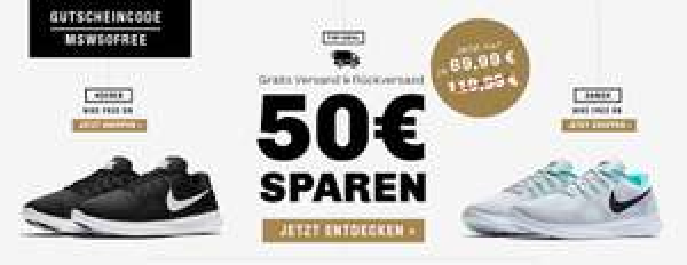 50€ Gutschein auf alle Nike Free RN Schuhe @my-sportswear.de