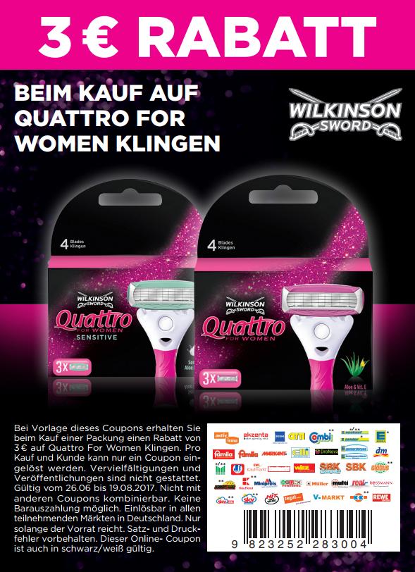 3,00€ Sofort-Rabatt-Coupon auf Wilkinson Quattro for Woman // Intuition bis (abweichende EAN) 19.08.2017 in PDF  [bundesweit]