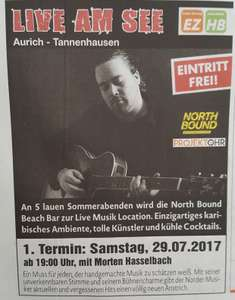 [lokal AURICH am See] North Bound Beach Bar - live Musik - 29.7