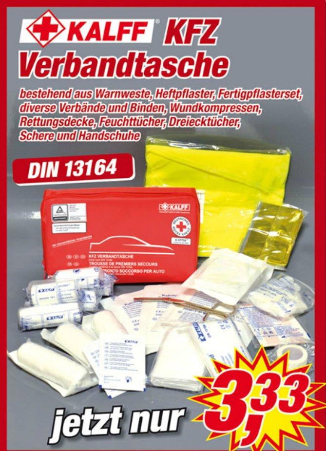 [Posten-Börse] KFZ-Verbandstasche mit Warnweste, Rettungsdecke, Verbänden, Schere usw. für 3,33