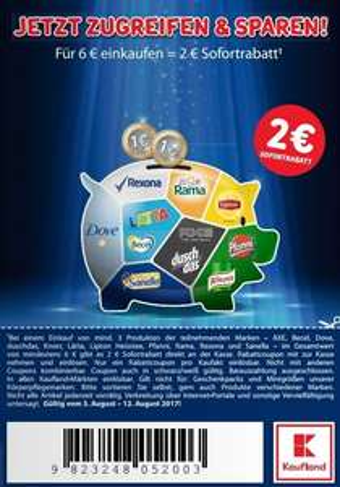2,00€ Sofort-Rabatt-Coupon ab 3 Produkten im Wert von 6,00€ (02.-12.08.2017) [AXE/Becel/Dove/Knorr/Lätta/Lipton/Pfanni/Sanella]